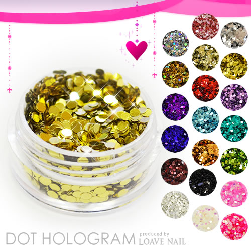 Sparkling reflections of the high-quality holographic round type (dot) mirror! Incapable of large capacity (3 g)! Thin, acrylic and gel padding ideal! Nail gel nails LOAVE NAIL