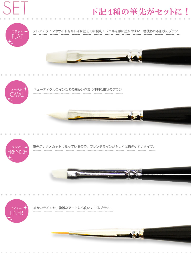 Nail brush hair set of 4 species! Brush caps with just 1000 yen.