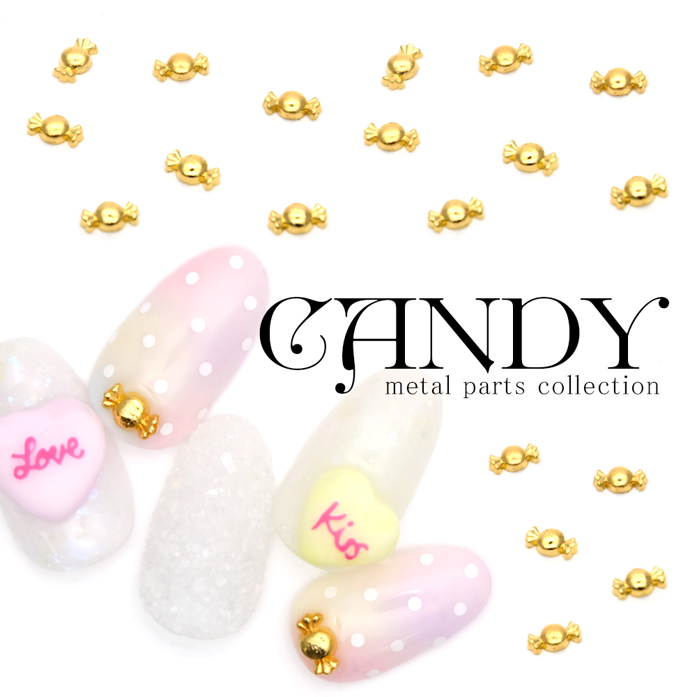 Metal Parts Candy Mini Nail Art Sweets With Gold Five