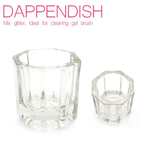 【宅急便限定】シンプルなガラス製の八角形ダッペンディッシュ ジェルブラシの洗浄、ラメやホロの調合に便利な容器