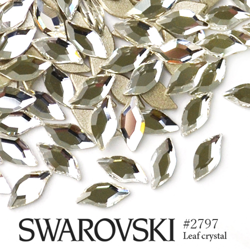 ネコポス 送料無料 SWAROVSKI特殊カット ネイルやレジンに スワロフスキー ラインストーン ネイルパーツ 代引き不可 ジェルネイル デコレーション #2797 リーフ レジン ネイル 春の新作続々 デコパーツ おうち時間 パーツ 3粒入り クリスタル スワロ SWAROVSKI デコ電 大粒スワロ