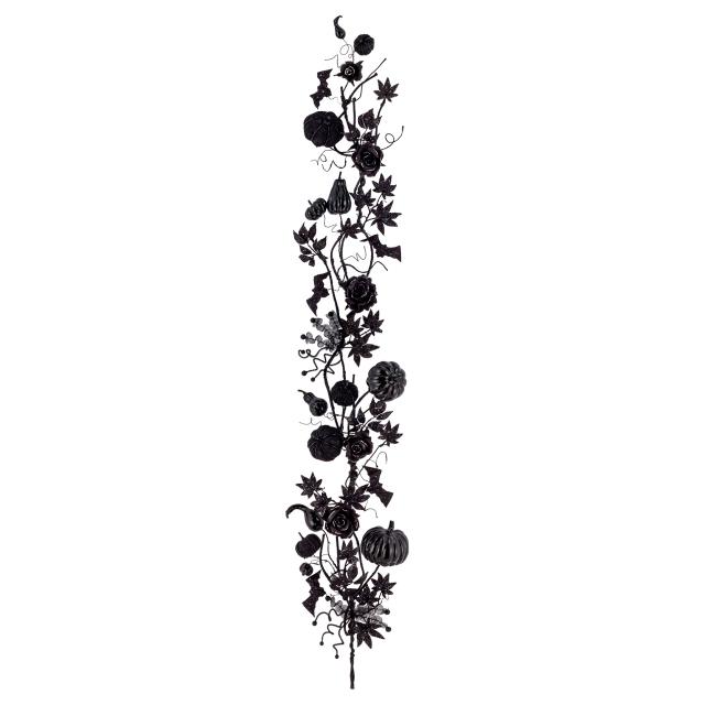 ブラックパンプキンガーランド(グリッター)(ワイヤー入)(BRG3060)[ブラックパンプキン かぼちゃ パンプキン 秋 造花 ガーランド フェイクグリーン ハロウィン]