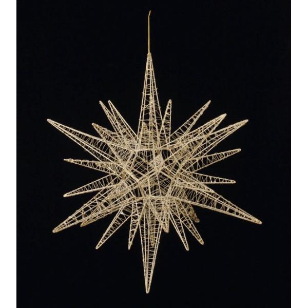 60cmワイヤースパイクスター(グリッター)(ゴールド)(OXM1136LGO)[クリスマス デコレーション 飾り オーナメント ワイヤースパイクスター 星 スター]