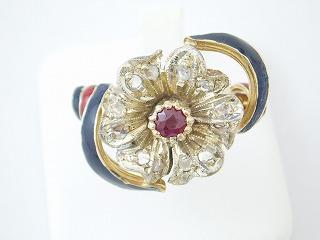 【送料無料】イタリア製K14リング ルビー&ダイヤモンド【あす楽対応】