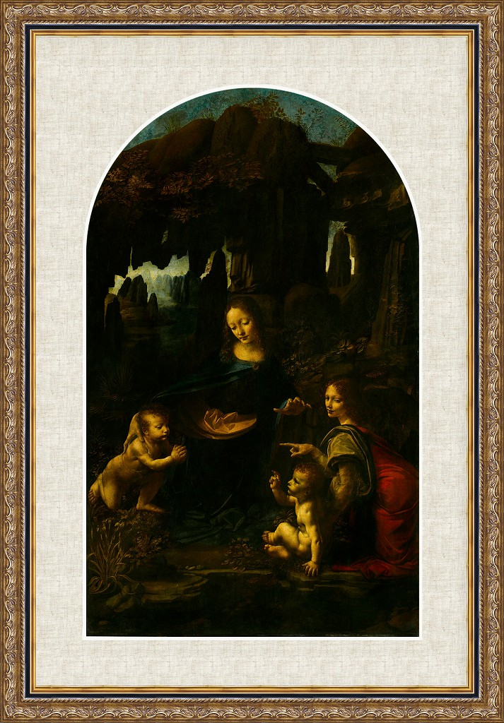 【額付き・送料無料】岩窟の聖母(レオナルド・ダ・ヴィンチ版画)