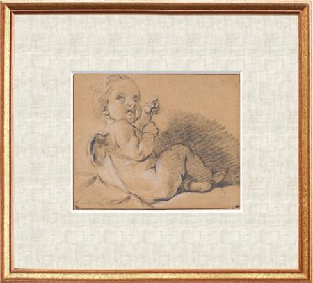 【額付き・送料無料】短剣を持って座るアモール(フランソワ・ブーシェ版画)