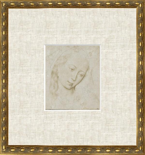【額付き・送料無料】聖母の頭部(ロヒール・ファン・デル・ウェイデン版画)