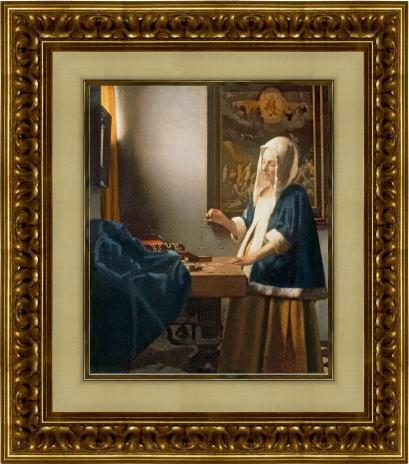 「天秤を持つ女」 (フェルメール版画)【送料無料・額付き】フェルメール全作品ギフト・プレゼントに最適!絵画壁掛けアート