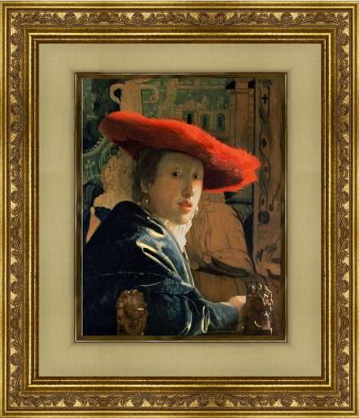 「赤い帽子の女」 (フェルメール版画)【送料無料・額付き】フェルメール全作品ギフト・プレゼントに最適!絵画壁掛けアート