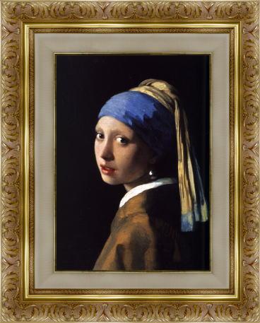 「真珠の耳飾の少女(青いターバンの少女)」 (フェルメール版画)【送料無料・額付き】フェルメール全作品ギフト・プレゼントに最適!絵画壁掛けアート