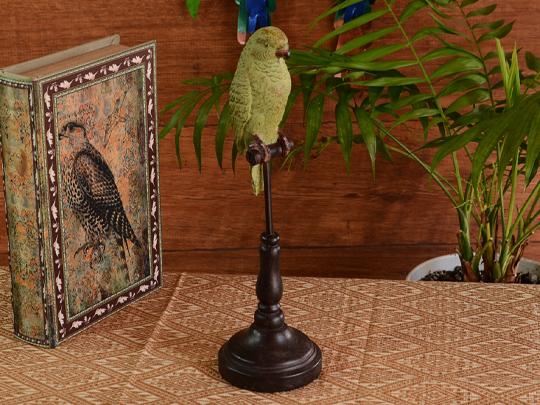 Green Parakeet 인 퍼 새 스탠드 인형 앤티크 앤티크 풍 류 귀여운 멋쟁이 동물 애니멀 그린 녹색 조류