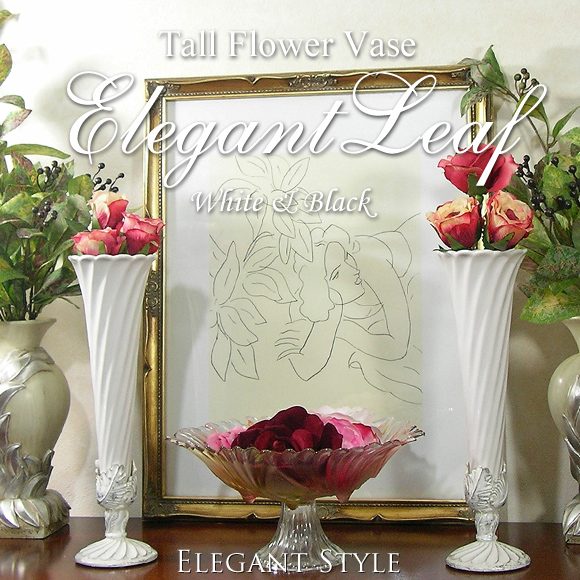 Adult Interior elegant leaf vase black & white vase, vase