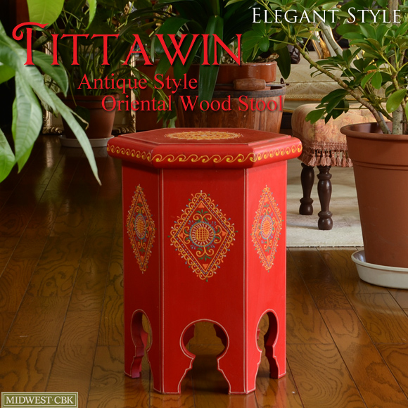 Tittawin ティタウィン レッド ウッドスツール 花台 アンティーク アンティーク風 雑貨 オリエンタル 赤 家具