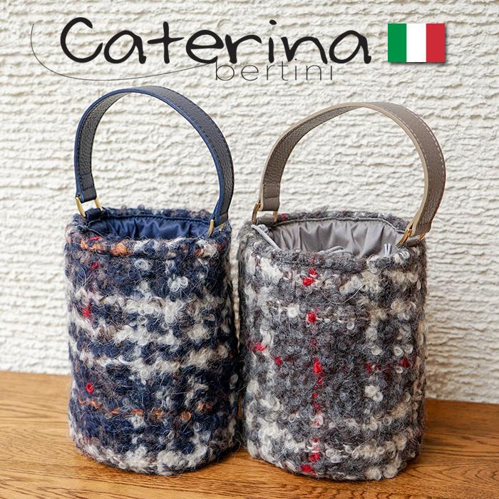 イタリア製 ハンドバッグ バケツ型バッグ 円柱 モヘア チェック柄バケツ型とモヘア素材のチェックが素敵なバッグ