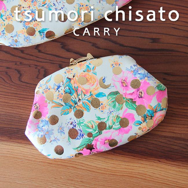 ツモリチサト 財布 がま口 ドットフラワーネコ 花柄とドット、ネコプレートがクラシカルなお財布