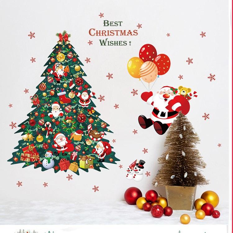 推奨 送料無料 ウォールステッカー お気に入り クリスマス 雪だるま サンタ #715 60 90cm クリスマスツリー