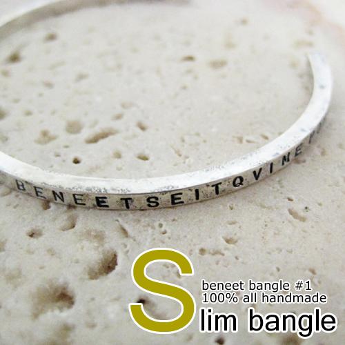 バングル メンズ レディース シルバー スリム 細い ハンドメイド beneet bangle #1 (スリム)