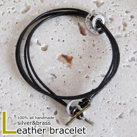 ブレスレット 革 レザー シルバー 真鍮 ブラス メンズ レディース ハンドメイド earth brace #1