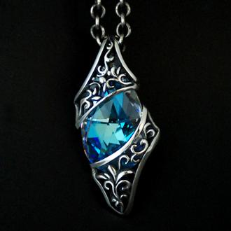 ペンダント ネックレス 送料無料 クリスタル 綺麗 メンズ レディース シルバー ハンドメイド crystal