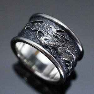 指輪 リング ドラゴン 龍 竜 和風 メンズ シルバー 送料無料 ハンドメイド