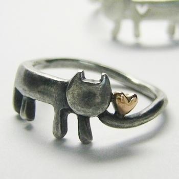 猫 ねこ ネコ 指輪 リング ハート レディース 刻印 シルバー アクセサリー 可愛い シンプル ハンドメイド ハートをひろったステネコちゃん