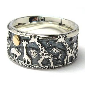 指輪 リング 送料無料 メンズ レディース 刻印 シルバー 動物 月 キリン アクセサリー ハンドメイド 月の思い出