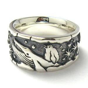 指輪 リング メンズ レディース ペンギン クジラ 刻印 動物 シルバー 送料無料 ジュエリー ハンドメイド 空を飛ぶ夢