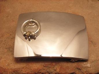 ベルト バックル レザー 革 メンズ シルバー 送料無料 スターリングシルバー ハンドメイド Knock 5x7