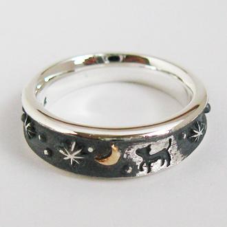 指輪 リング 送料無料 猫 ネコ ペア メンズ レディース 刻印 動物 月 シルバー ジュエリー 大人 ハンドメイド 月の散歩