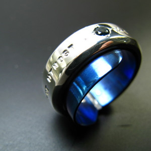 Suave(ロンドンブルートパーズ) チタン&シルバーアクセサリーリング/指輪 【ハンドメイド/手作り/メンズ/男性用/天然石/刻印】【送料無料】【smtb-k】【w3】
