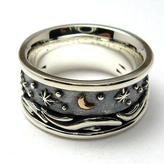 指輪 リング 送料無料 ペア メンズ 刻印 月 シルバー ジュエリー ハンドメイド 月の記憶