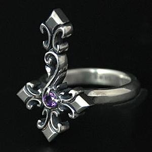 指輪 リング 送料無料 メンズ 十字架 逆十字 クロス シルバー ハンドメイド inverted cross