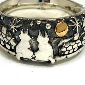 猫 ねこ ネコ 指輪 リング ペア 刻印 動物 月 シルバー アクセサリー 送料無料 ハンドメイド 月の約束