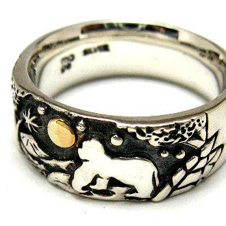 指輪 リング 送料無料 ペア メンズ 刻印 動物 月 シルバー ジュエリー ハンドメイド ゴリラ あの空の下 森のゴリラ