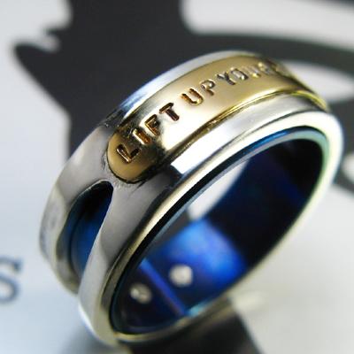 Nirvana チタン&シルバーアクセサリーリング/指輪 【ハンドメイド/手作り/メンズ/男性用/レディース/女性用/刻印】【送料無料】【smtb-k】【w3】