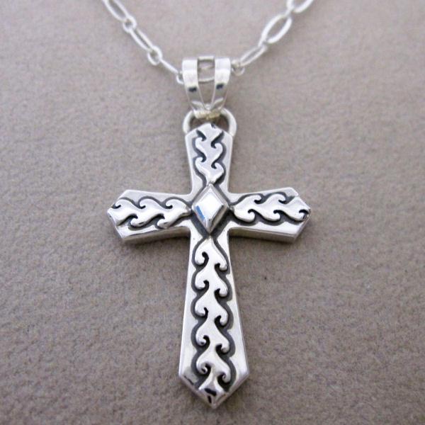 ネックレス ペンダント クロス 十字架 ハワイ メンズ シルバー 夏 送料無料 刻印無料 ハンドメイド サーフィン Hawai'ian Cross (Nalu)