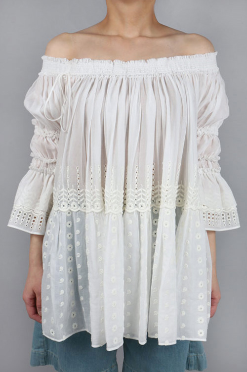 broderie anglaise on cotton voile(16SHT32) Chloe(クロエ)