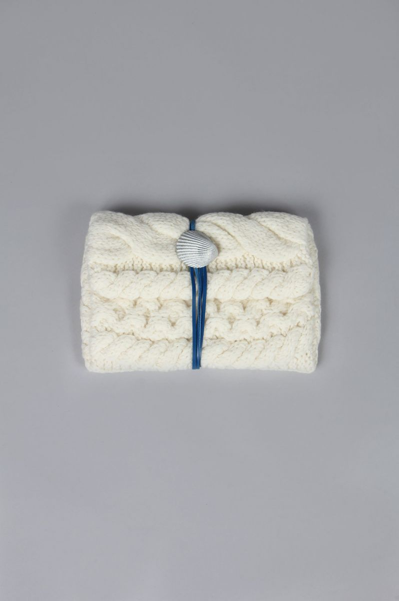 Cable knitted clutch M (SB-160220) Sieste peau(シエスタ・ポー)