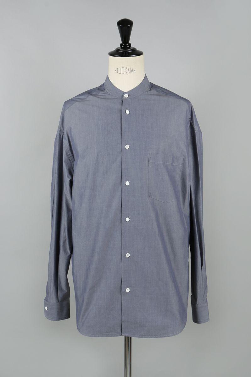 Cotton Poplin Oversized Band Collar Shirt - BLUE GREY (1117-33005) SCYE BASICS -Men-(サイ・ベーシックス)