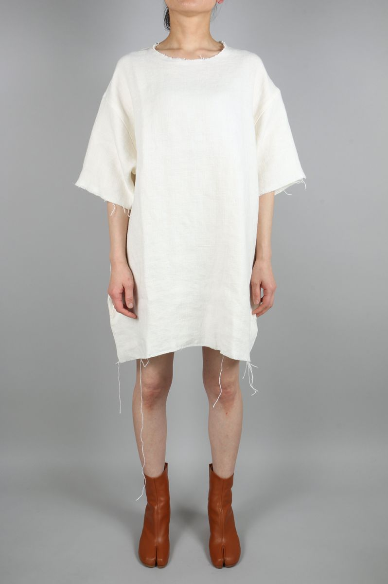 Linen T-Shirt Dress With Frayed Edges (089SS16LINEN) MARQUES' ALMEIDA(マルケス・アルメイダ)
