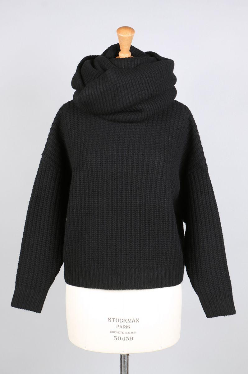 【40%OFF】SNOOD SET KNIT TOPS-Black(13106-1041) Clane(クラネ)