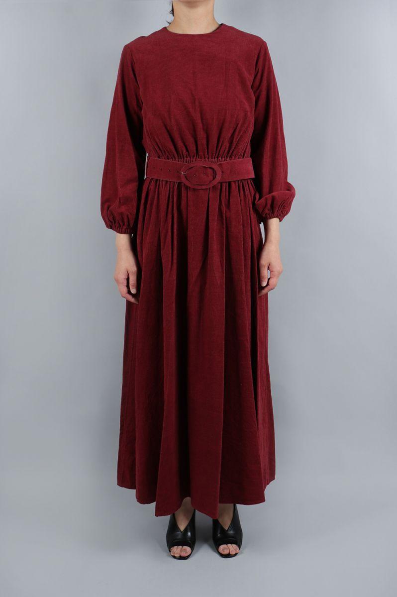 Corduroy Maxi Dress(Buckle belt)-D.Red(08R-FADRE-02C) BLUEBIRD BOULEVARD(ブルーバード・ブルバード)