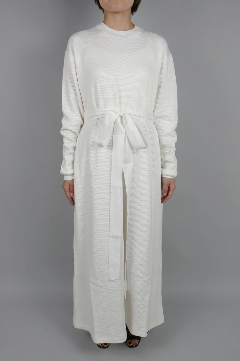 Honeycomb thermal Maxi Dress-white (08R-CSDRE-01C) BLUEBIRD BOULEVARD(ブルーバード・ブルバード)