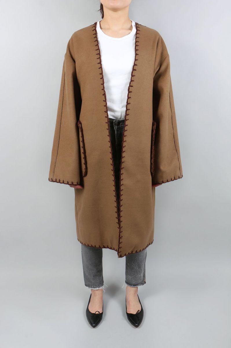 Collarless Stitch Coat-CAMEL- (1172009) TODAYFUL(トゥデイフル)