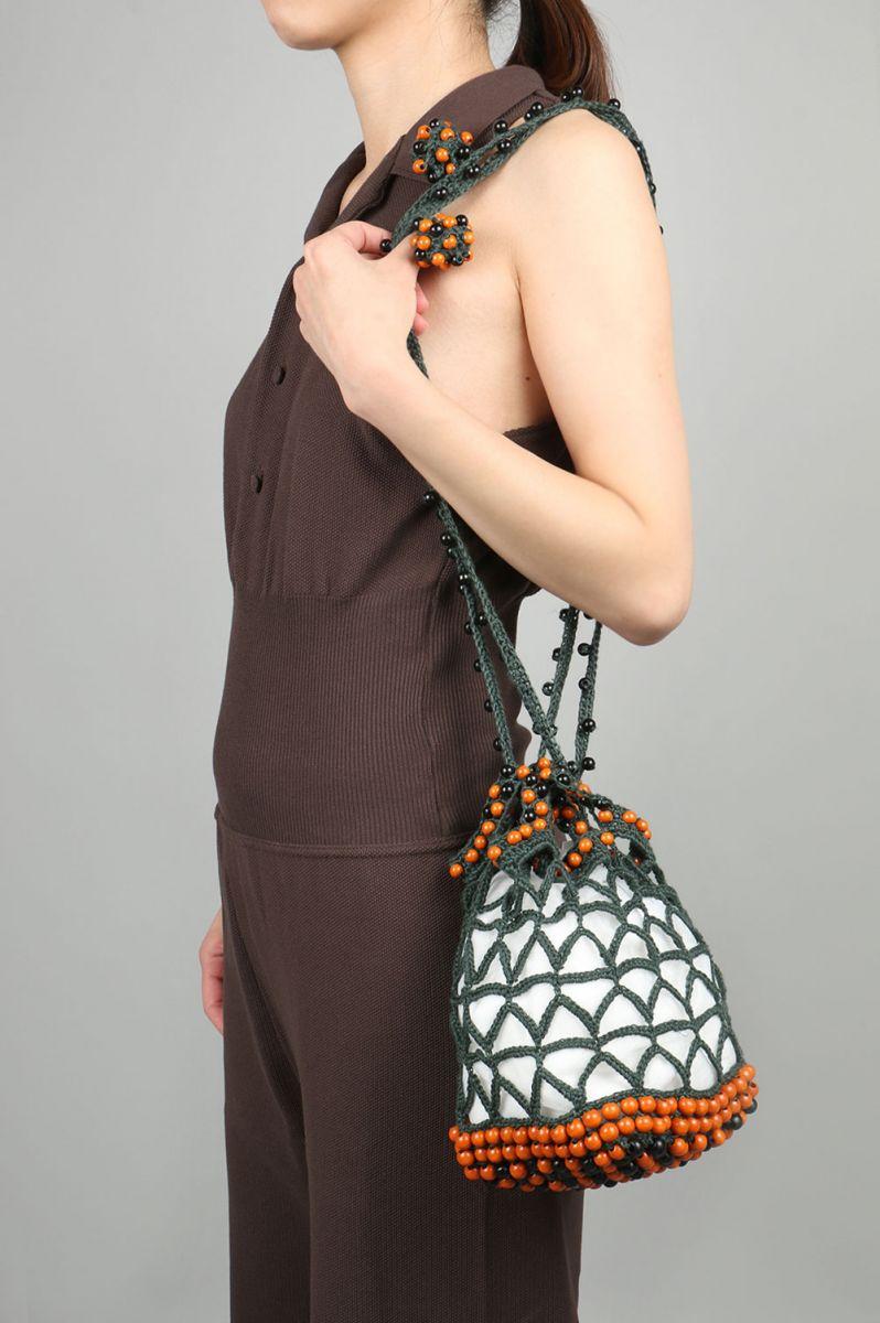 Hand knit Wooden Beads Bag -GREEN Jun Mikami(ジュン・ミカミ)