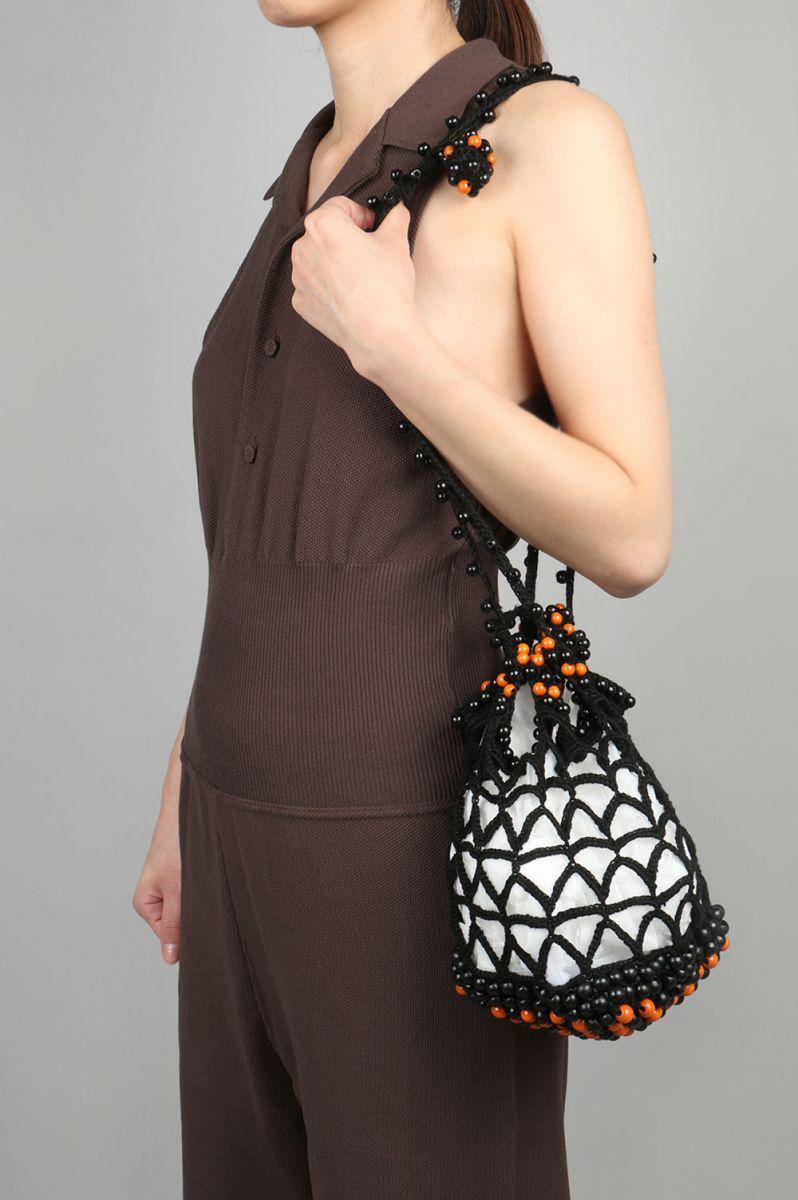 Hand knit Wooden Beads Bag -BLACK Jun Mikami(ジュン・ミカミ)