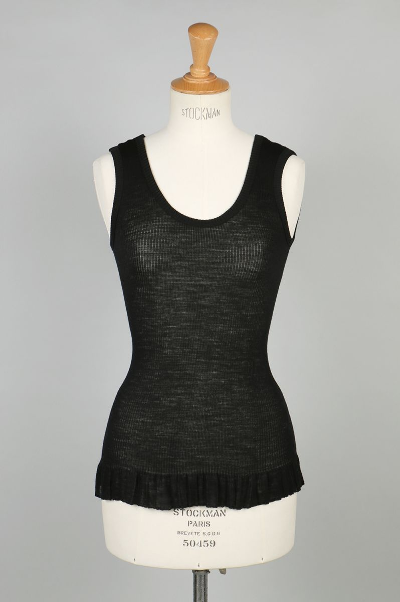 wool fine ribbed tank-top-black-(BA01-LI57) babaco(ババコ)