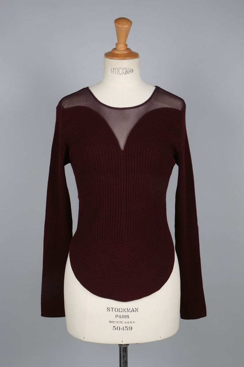 【40%OFF】round curve ribbed pullover with tulle -burgundy-(BA01-LI92) babaco(ババコ)
