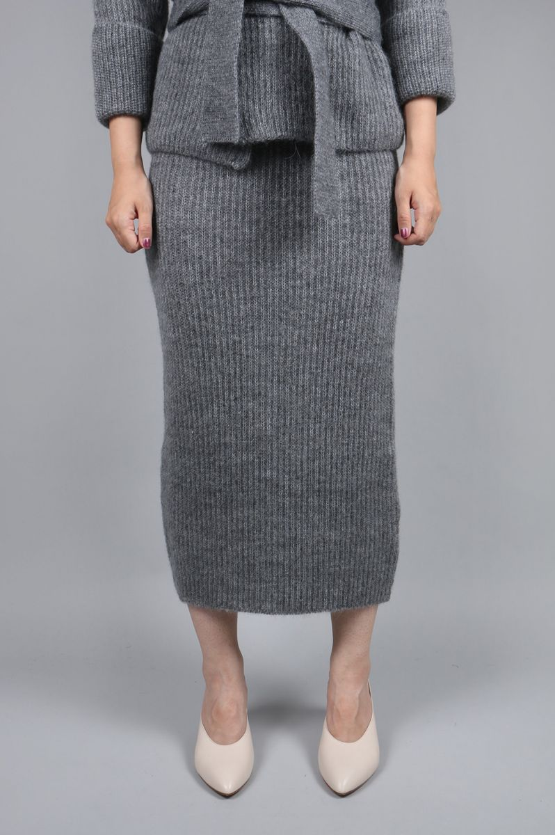 【40%OFF】SOFT MOHAIR PENCIL SKIRT-GRAY (10R-KNBOT-01K) Bluebird Boulevard(ブルーバード・ブルバード)