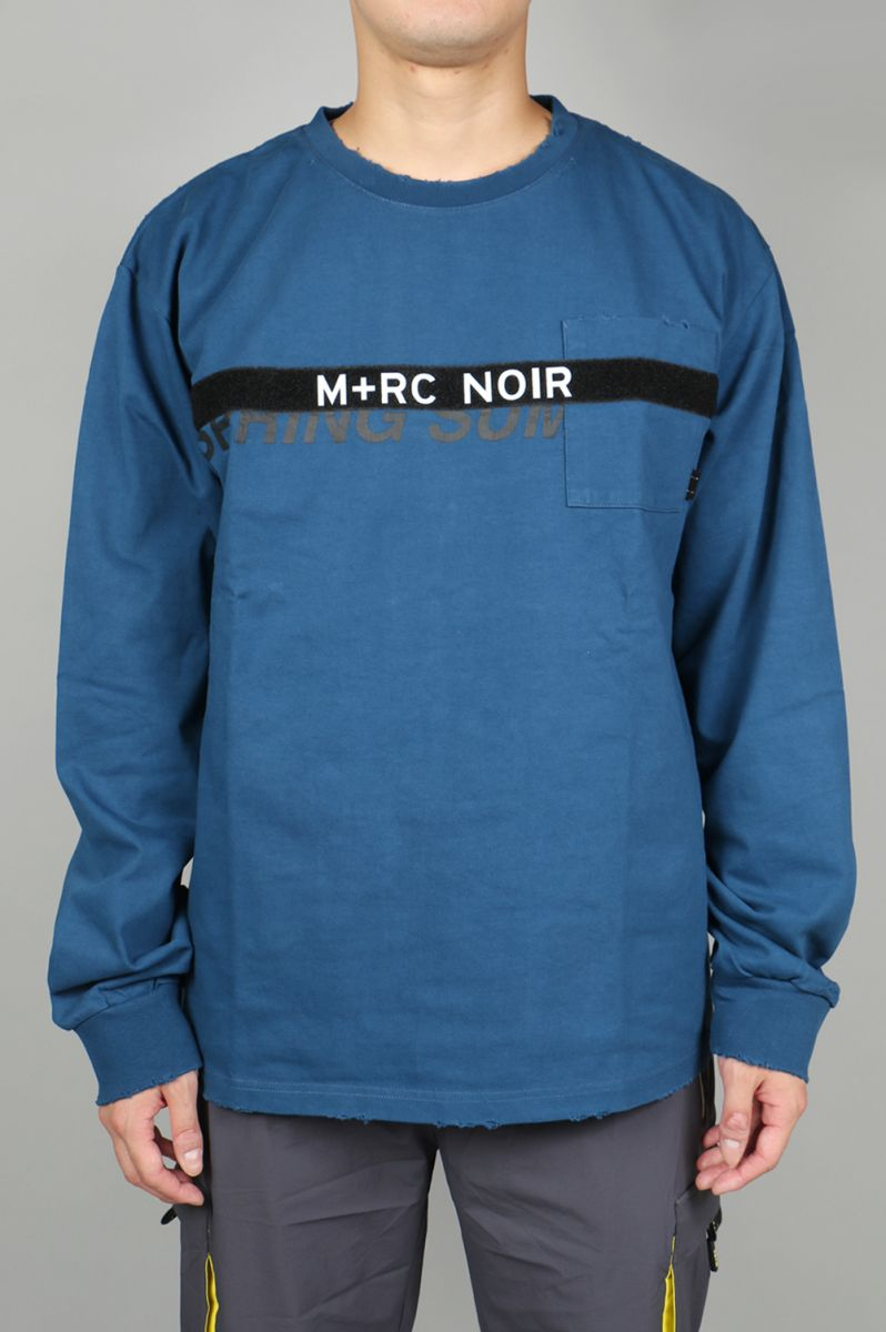 M+RC NOIR BLUE LONG SLEEVES VELCRO TEE M+RC Noir(マルシェ・ノア)